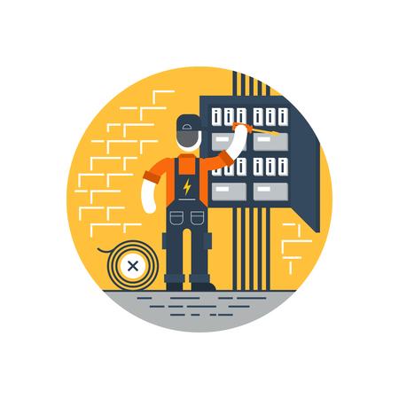 the maintenance: Electricista en el trabajo Vectores