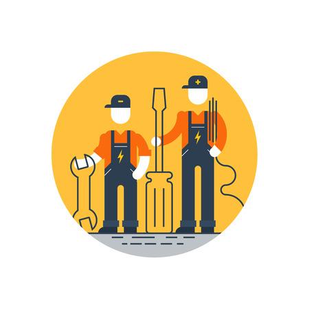 Technical support, repair men Stock Illustratie