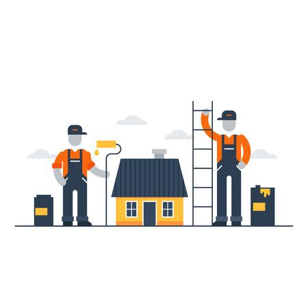 trabajando en casa: servicios de mejoras para el hogar y renovación Vectores