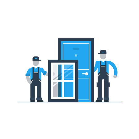 Windows and doors installment services  イラスト・ベクター素材