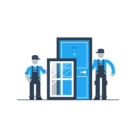 Windows and doors installment services Illustration
