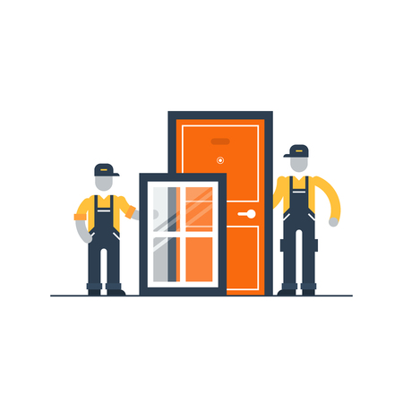 windows and doors: Windows and doors installment services Illustration