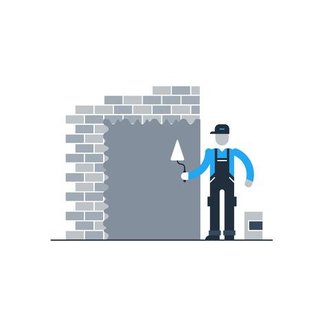 stucco: Stucco worker