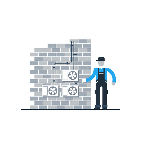 service technician: Air conditioners system maintenance Illustration