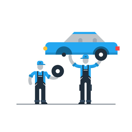 Auto service, tyre change Illustration