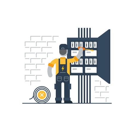 electricidad: Electricista en el trabajo Vectores