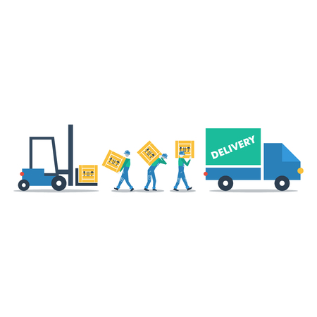 to unload: Delivery business Illustration