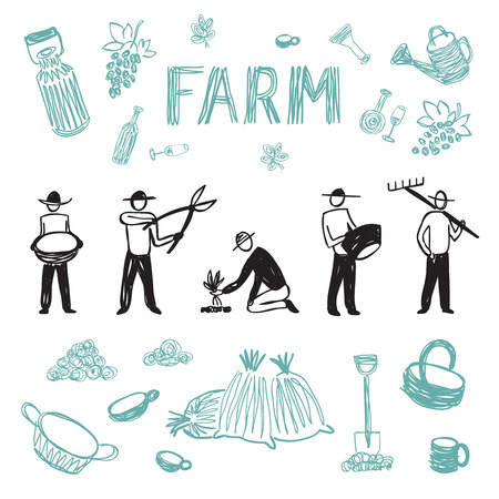 Hand drawn farm work