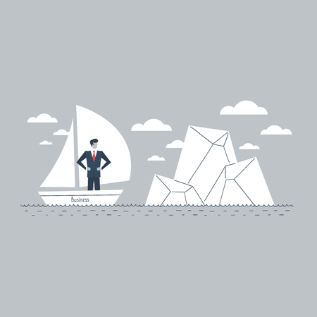 tip of iceberg: Business obstacle metaphor Illustration
