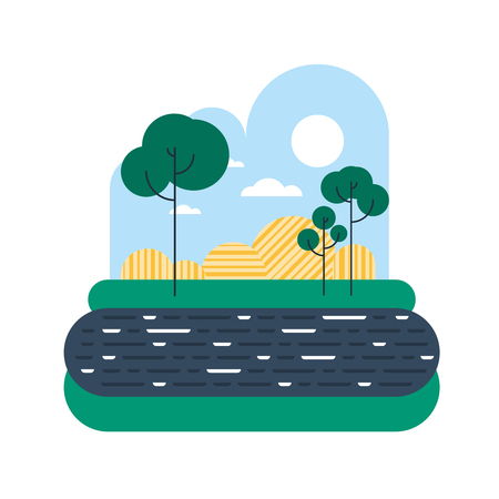 haymow: Countryside with a river bank or lake shore Illustration