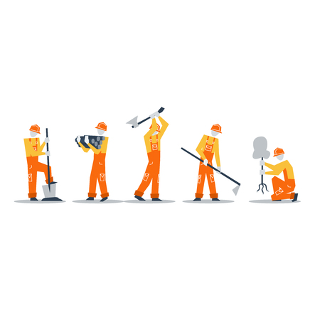 beautification: Construction workers. Illustration
