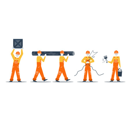 home improvement: Home improvement workers. Construction workers. Illustration