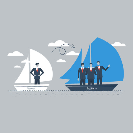 stronger: Business consolidation or growth illustration