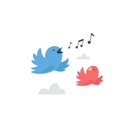 Kilka szczęśliwych ptaków latających i śpiew