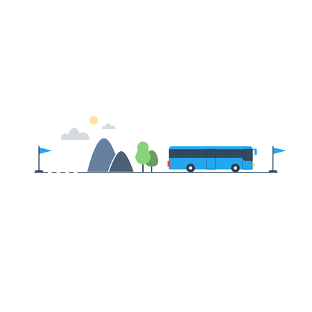 itinerary: Travel by bus, itinerary illustration Illustration