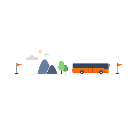 suburban street: Travel by bus, itinerary illustration Illustration