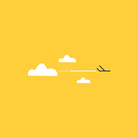 vapor trail: Tiny airplane high in the sky Illustration