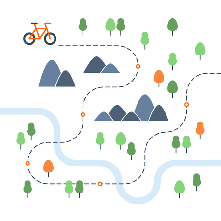 Outdoor cycling map Illustration