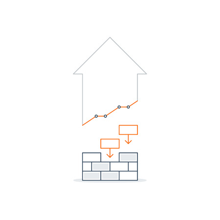 Brick laying, income growth, construction works, linear design