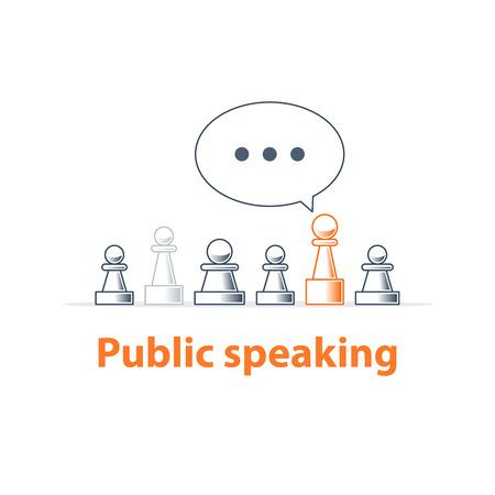 teach: Public speaking, communication concept, linear design illustration Illustration