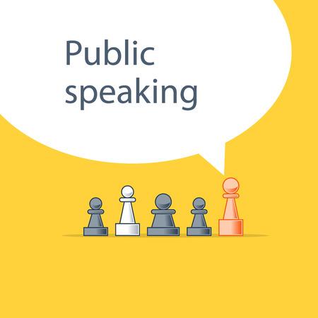 Public speaking, communication concept, linear design illustration Illustration