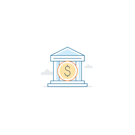time account: Bank building icon, finance services, linear design Illustration