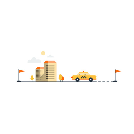 yellow cab: City taxi service. Hire a car. Commute by car. Yellow cab