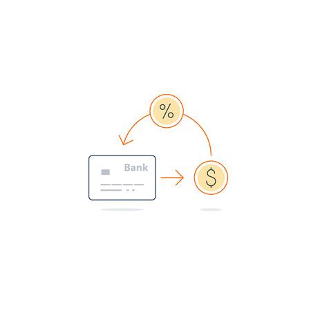 annuity: Cash back on bank card. Save money concept. Finance return on interest Illustration