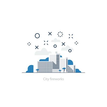 urban planning: City fireworks. Event celebration. Town district illustration