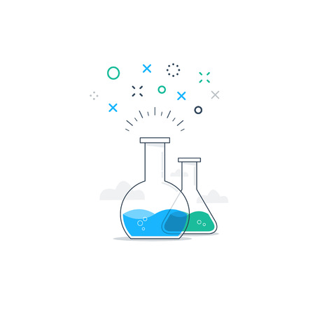erlenmeyer: Chemistry funny experiments. Chemical tricks. Science class and entertainment.