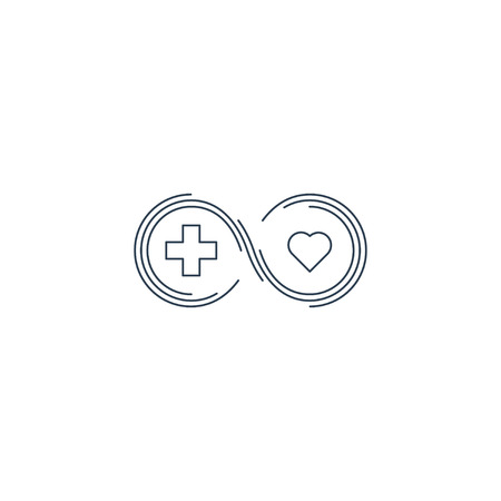 medical evaluation: Health insurance, healthcare concept, medical check up, aid charity donation , diagnostics services, life coverage icon, linear design
