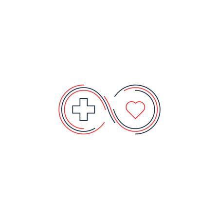 Krankenversicherung, Gesundheitswesen Konzept, medizinische Check-up, Hilfe Spenden, Diagnostik, Life Abdeckung Symbol, geradliniges Design Vektorgrafik
