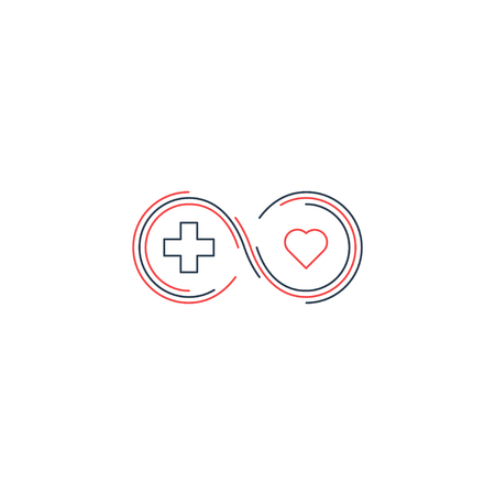 Health insurance, healthcare concept, medical check up, aid charity donation , diagnostics services, life coverage icon, linear design