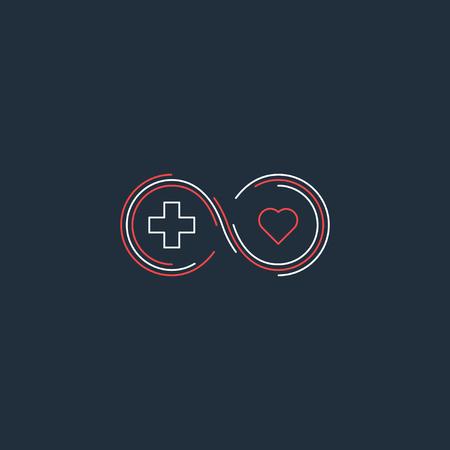 longevity medicine: Health insurance, healthcare concept, medical check up, aid charity donation , diagnostics services, life coverage icon, linear design