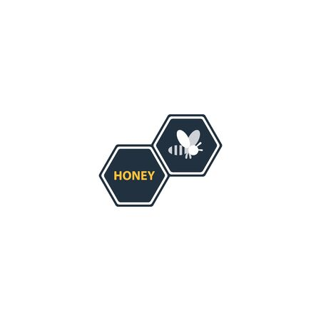 Honey bee , apiculture identity, beekeeping company icon, honey production sign, bee symbol. Linear, flat design