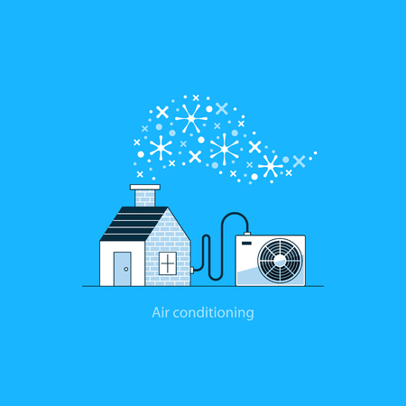 amenities: Home air conditioning, climate control concept, house cooling, comfort living