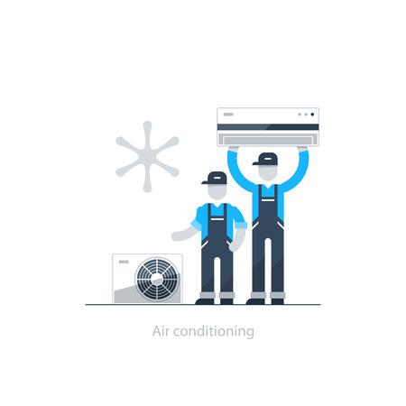 Inicio de aire acondicionado servicio, el concepto de climatización, refrigeración de las casas iconos, reparador en uniforme Ilustración de vector