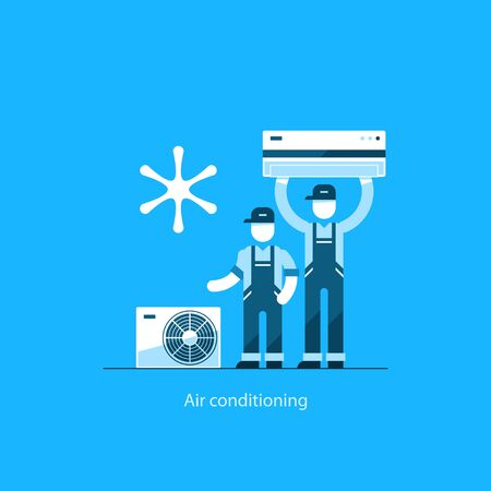 installing: Home air conditioning service, climate control concept, house cooling icons, repairman in uniform