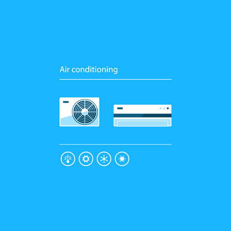 heating engineers: Ductless cooling and heating systems, home air conditioning service icons, climate control concept