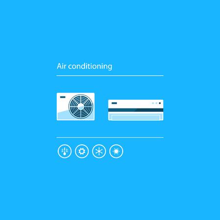 sistemi di secrezione interna di raffreddamento e riscaldamento, icone home servizio di aria condizionata, il concetto di climatizzazione Vettoriali