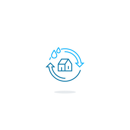 filtering: House cleaning services, plumbing repair , home water filtering, hygiene icon symbol, water insurance sign, linear design