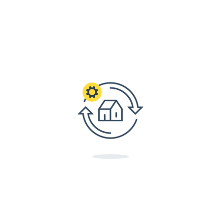Household concept, home repair services, house improvement icon symbol, smart living, reconstruction works