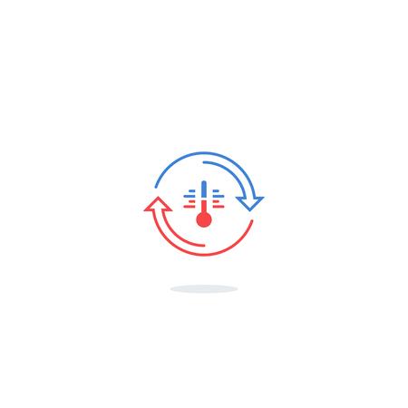 Koel- en verwarmingssystemen, airconditioning dienst iconen, climate control-concept