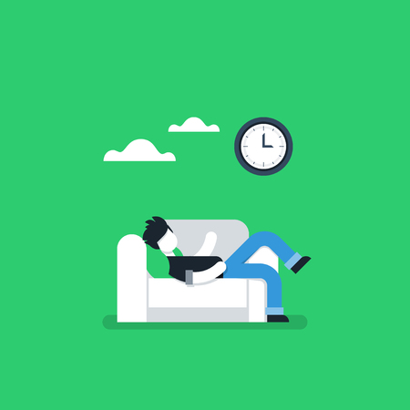 couch potato: Procrastination concept, lazy man on sofa, couch potato, tired person, lying down on back, passive time spending Illustration