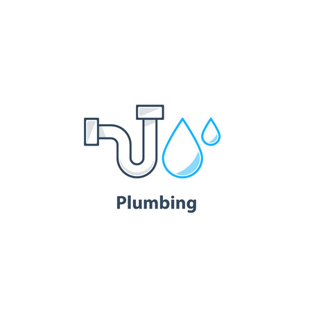 tubular: Plumbing service , p-trap tubular part, pipes drain concept, repair works, facility installment