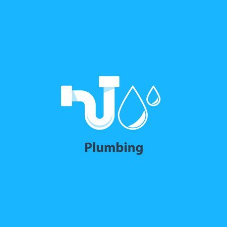 Plumbing service , p-trap tubular part, pipes drain concept, repair works, facility installment