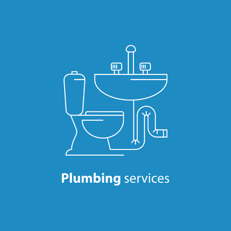 installment: Plumbing service , pipes connection, water repair works, facility installment Illustration