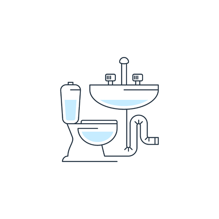 sewerage: Plumbing service , pipes connection, water repair works, facility installment Illustration