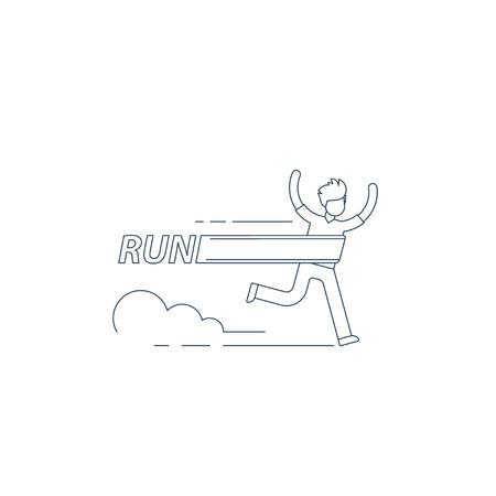 contention: Running man, finish line, first winner, healthy lifestyle, marathon competition, triathlon contest, sport activity event