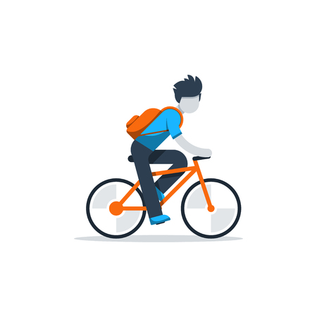 Man in casual dress cycling, student commuting by bicycle, daily riding by bike to business, isolated vector flat design illustration Illustration